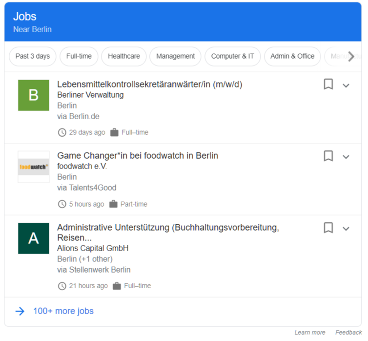 Preview of job posting schema type. Shown on jobs near Berlin example.