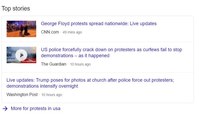 An example of Top Stories from Google Search results